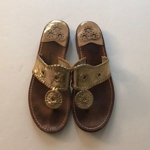 Jack Rogers Gold Sandals Size 8